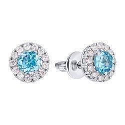 Серебряные серьги-пуссеты с топазами Swiss blue и фианитами 000126141
