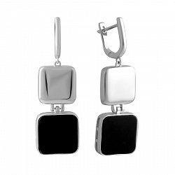 Серебряные серьги-подвески с ониксом 000143663