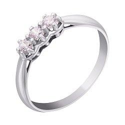 Золотое кольцо в белом цвете с цирконием Swarovski 000010488