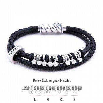 Кожаный браслет со словом Luck из серебра азбукой Морзе 000050062