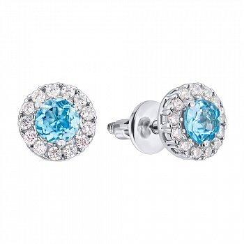Срібні сережки-пусети з топазами Swiss blue і фіанітами 000126141