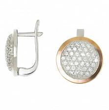 Серебряные серьги с золотыми вставками и фианитами Моника