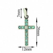 Крестик из белого золота с изумрудами и бриллиантом Мадея