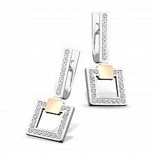 Серебряные серьги-подвески Тиана с золотыми накладками, фианитами и родием