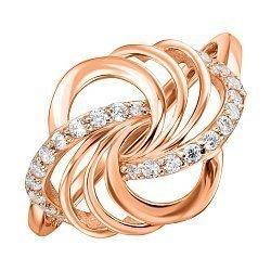 Кольцо из красного золота с фианитами 000135726