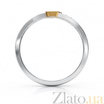 Золотое кольцо Маргарита в комбинированном цвете с сердечком и фианитами VLA--14170