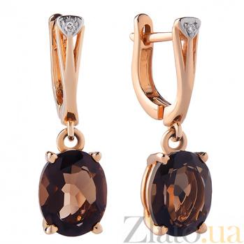 Серьги из красного золота с раухтопазом и бриллиантами Мишель TRF--2121415н/раух