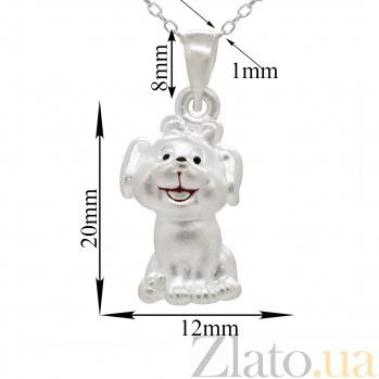 Серебряное колье Собачка с бантиком с черно-красной эмалью 000082160