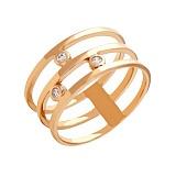Тройное кольцо из красного золота с фианитами Джанелл