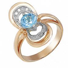 Золотое кольцо Теодора с голубым топазом и фианитами