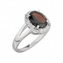 Серебряное кольцо Оливия с раухтопазом и фианитами