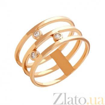 Тройное кольцо из красного золота с фианитами Джанелл 000022964