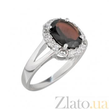 Серебряное кольцо Оливия с раухтопазом и фианитами 000081633