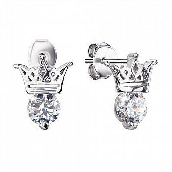 Серебряные серьги-пуссеты с коронами и фианитами 000123607