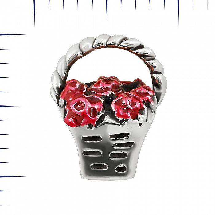 Серебряный шарм Корзинка с розами с красной эмалью 000081706