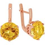 Золотые серьги Аманда с цитринами