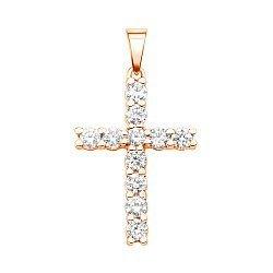 Золотой крестик в красном цвете с бриллиантами 000124400