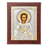 Икона с серебром Святой Пантелеймон Целитель с инкрустацией