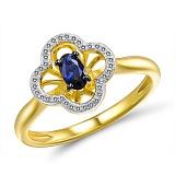 Кольцо Милена из желтого золота с бриллиантами и сапфиром