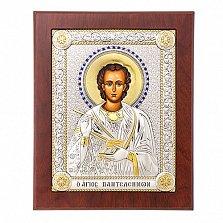 Икона с серебром Святой Пантелеймон Целитель с инкрустацией, 21х17см