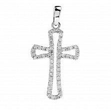 Золотой крестик Контурный в белом цвете с бриллиантами