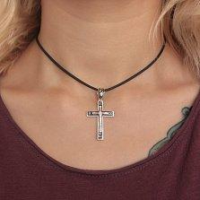 Серебряный крест с чёрной эмалью Небесный спаситель