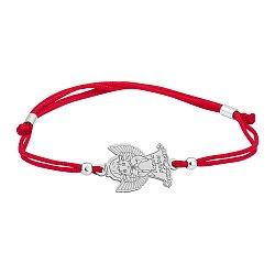 Шелковый браслет Ангел всегда рядом с серебряной фигурной вставкой