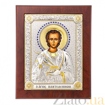 Икона с серебром Святой Пантелеймон Целитель с инкрустацией SXGСП Пантел