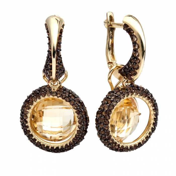 Золотые серьги-подвески с цитрином и раухтопазом Таиса 000030652
