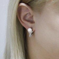 Серебряные серьги Креолка с белым жемчугом и фианитами