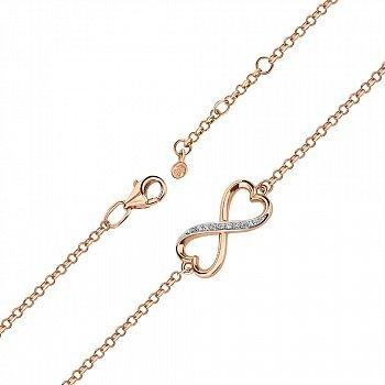 Золотой браслет в комбинированном цвете с фианитами 000141464