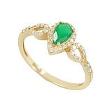 Золотое кольцо с агатом и фианитами Эмма