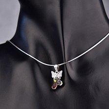 Серебряный кулон Бантик-бабочка с разноцветными фианитами