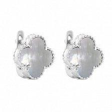Серебряные серьги Магический клевер с белым перламутром и родием в стиле Ван Клиф