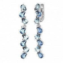 Серебряные серьги-подвески Яра с кварцем под лондон топаз, голубым кварцем и фианитами