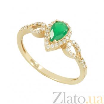 Золотое кольцо с агатом и фианитами Эмма 2К480-0070