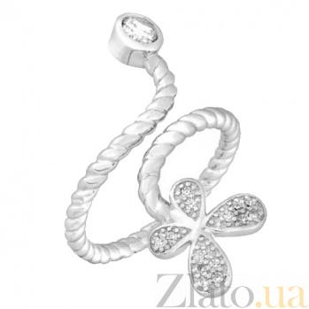 Серебряное кольцо с фианитами Хрупкая бабочка 000028092