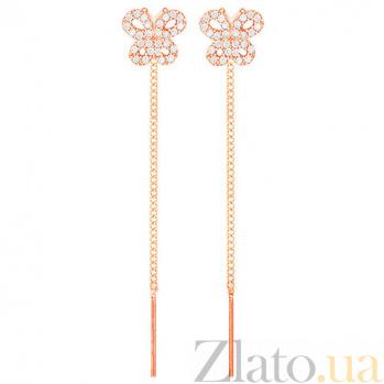 Золотые серьги с цирконием Авелин SUF--101747