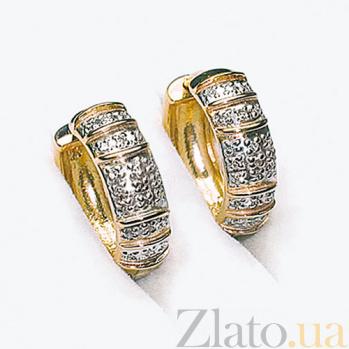 Золотые серьги с бриллиантами Вега 000022028