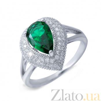 Серебряное кольцо с зеленым цирконом Кейтлайн AQA-XJT-0240-R1G