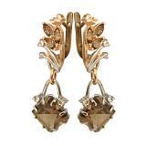 Золотые серьги с кварцем и топазом Кристая