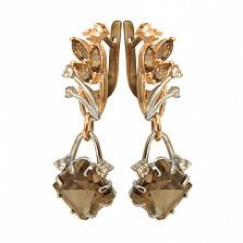 Золотые серьги с дымчатым кварцем и топазом Кристая