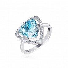 Серебряное кольцо Лагуна с голубым и белыми фианитами