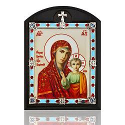 Автомобильная серебряная икона на дереве Казанская Божья Матерь с фианитами и цветной эмалью
