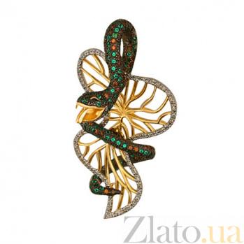 Золотая подвеска с фианитами Змея VLT--ТТ3398-1