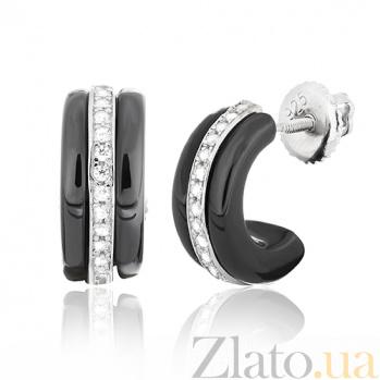 Керамические серьги с серебром и цирконием Ронолда SLX--С2ФК/1005