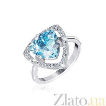 Серебряное кольцо Лагуна с голубым и белыми фианитами 000025458