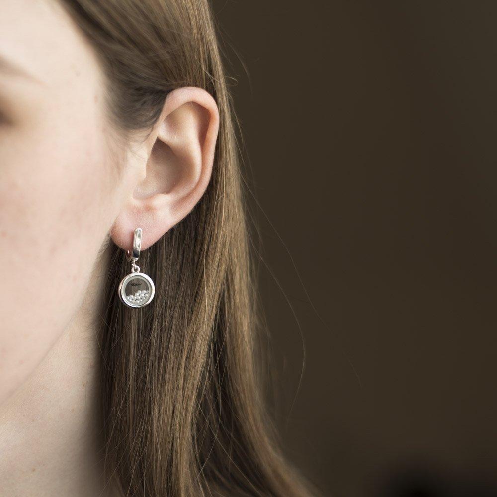 Серебряные серьги-подвески Женева с имитацией жемчуга и ювелирным стеклом в стиле Шопард