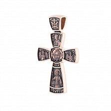 Золотой крест Царь Славы с ликами Иисуса, Богоматери, архангелов и святых