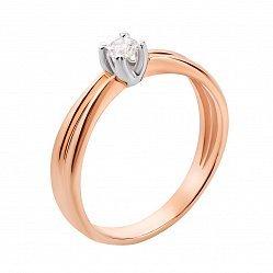Золотое помолвочное кольцо Анна в комбинированном цвете с бриллиантом